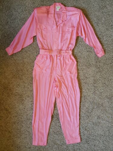 Vintage 80's 100% Silk Janine Pink Jumpsuit Romper