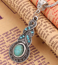 TIBETAN SILVER TURQUOISE CHARM CHAIN CRYSTAL RHINESTONE PENDANT NECKLACE JEWELRY