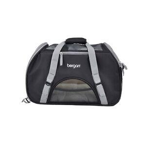 Bergan-Dog-Cat-Pet-Airline-Comfort-Carrier-Tote-w-Fleece-Bed-Large-Black-Brown