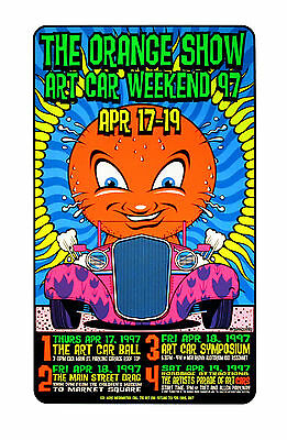 The Orange Show 1997 Original Silkscreen Event Poster Uncle Charlie Art