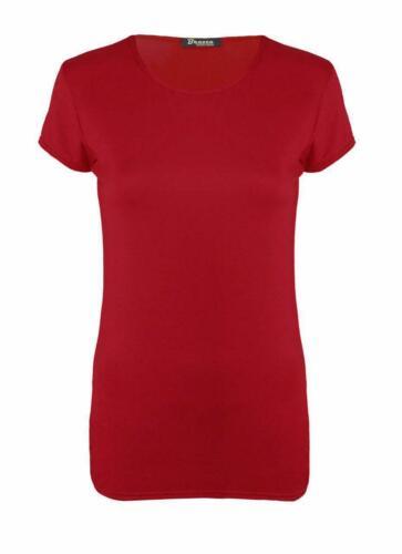Women Ladies Short Cap Sleeve Plain Round Neck T-Shirt Casual Tee Top Sizes 8-26