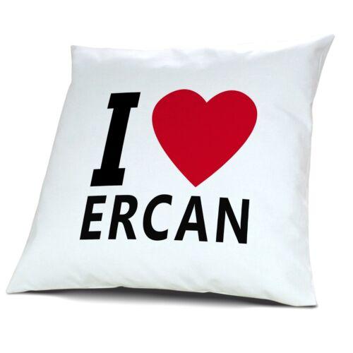 "Kopfkissen mit Namen Ercan Motiv /""I Love Ercan/"""