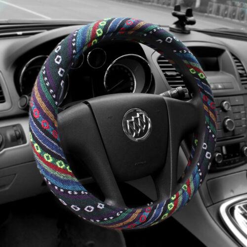"""Universal Baja Car Steering Wheel Cover 15/""""//38cm Colorful Stripe Non-slip"""