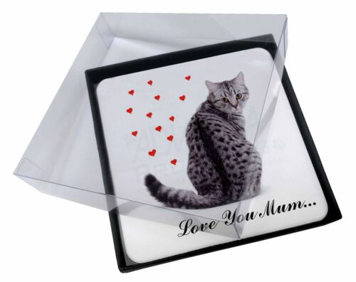 4x Cat with Red Hearts 'Love You Mum' Picture Table Coasters Set in , AC140lymC
