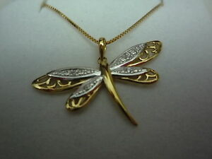 NEW-9k-9ct-yellow-gold-box-chain-18inch-45cm-and-pendant-butterfly