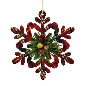 Tartan-fiocco-di-neve-albero-di-Natale-Decorazione