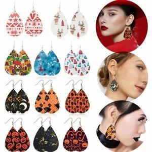 Halloween-Women-Teardrop-Leather-Hook-Earrings-Ear-Drop-Dangle-Christmas-Gifts