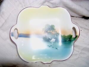 Vintage-Noritake-China-Hand-Painted-Decorative-Small-Bowl-Swans