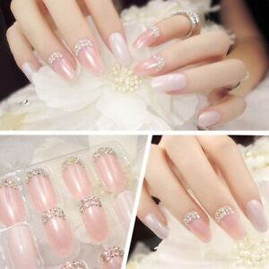 24pcs/box False Nail Pink Bride Nails Rhinestones Glitter Nail Art ...