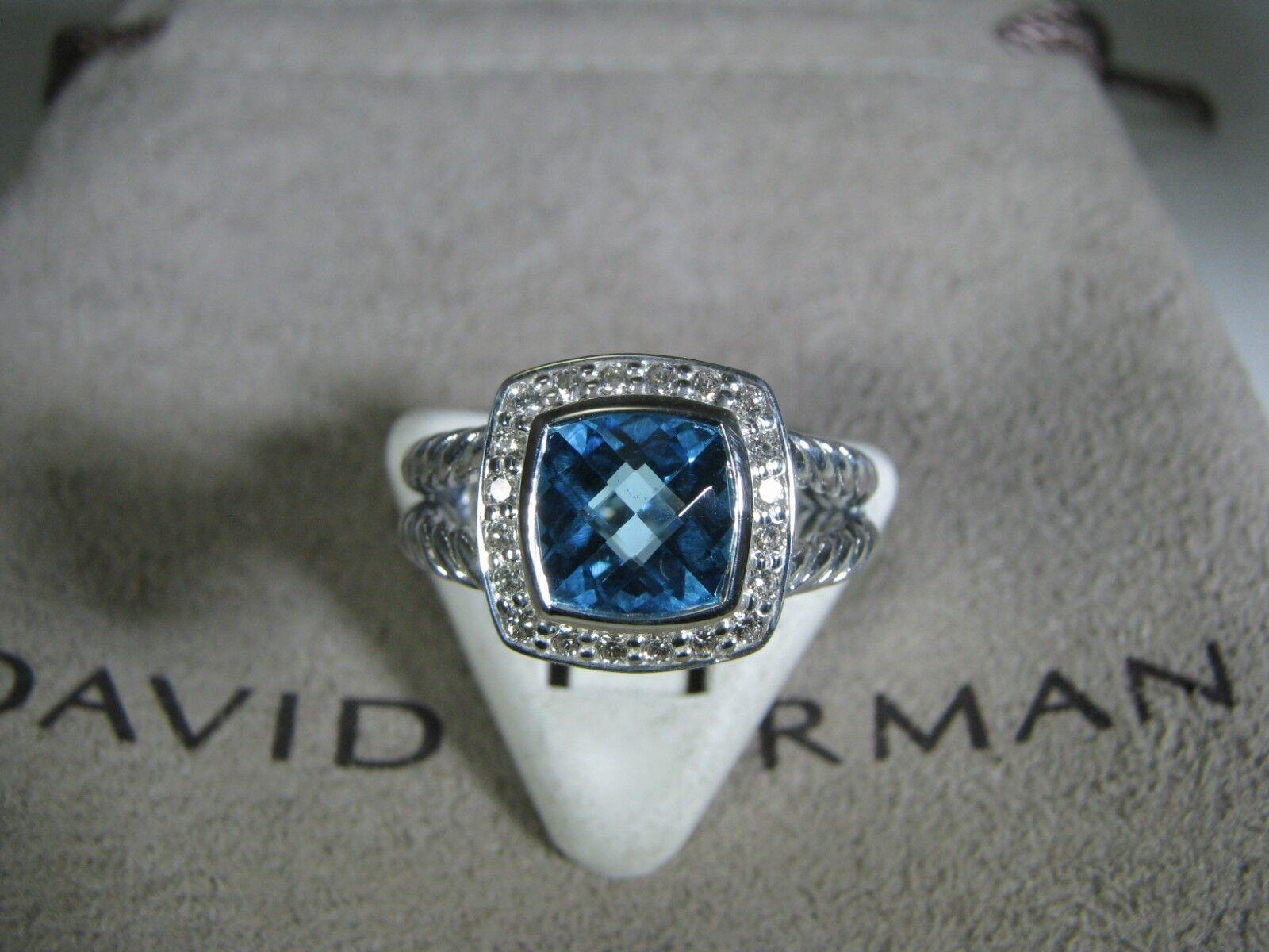 DAVID YURMAN AUTHENTIC ALBION 7MM blueE TOPAZ PAVE DIAMOND RING SIZE 6 D.Y. POUCH
