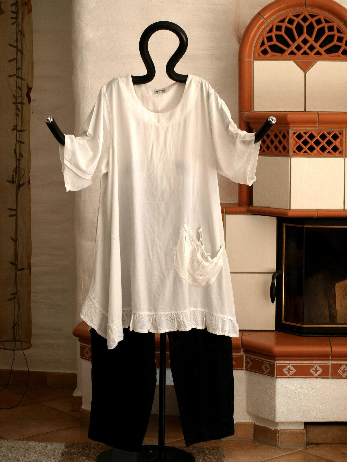 1980 LABASS DILARA A-Linie Big Hemd Volant mit Tasche weiß Gr. L 44 46