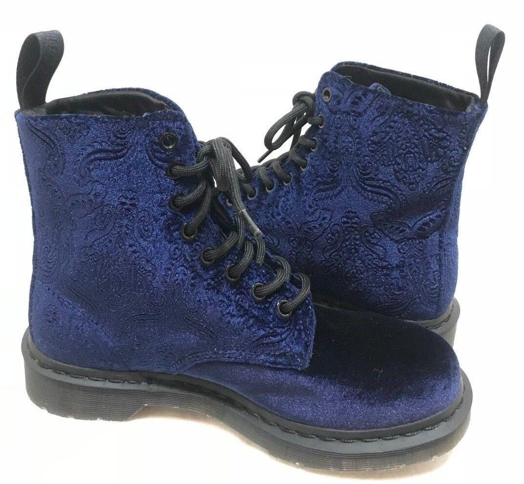 DR. MARTENS WOMEN'S 1460 BROCADE 8 EYE VELVET BOOTS SHOES blueE SIZE 7  140