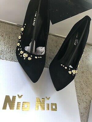 gold bubble design black high heel shoes size 3 brand new