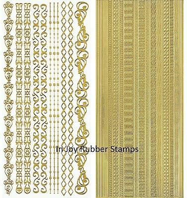 Hot Off the Press Dazzles Borders 4 or 6 Sticker Sheet Lot Select Gold or Silver