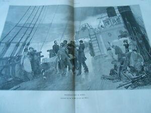 Bien Grande Gravure 1880 - Funérailles à Bord D'un Bateau D'après M. Bacon RafraîChissant Et BéNéFique Pour Les Yeux