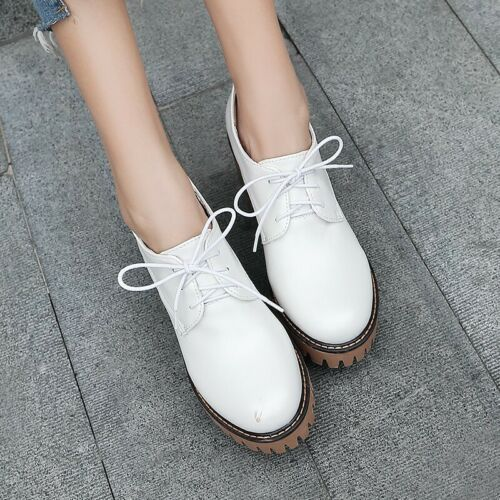 Details about  /British Style Women Non-slip Chunky Heel Lace Ups Round Toe Shoes Pumps 34//43 D