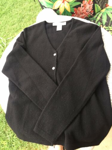 100% Black Cashmere Sweaters Women's Cardigan Fine