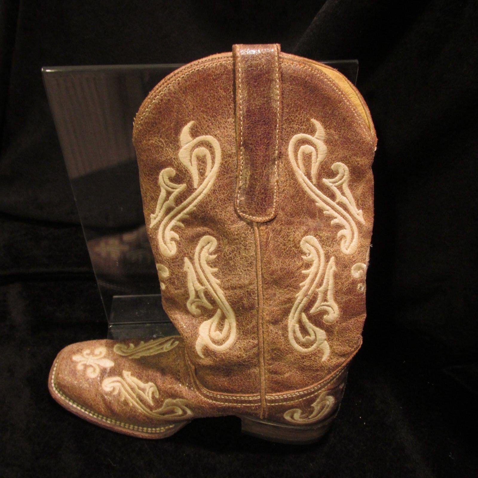 Ladies Western Corral Fleur De Lis Cowgirl Boots 6M