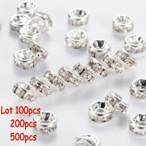 500PCS-Rhinestone-Rondelle-Spacer-Beads-Silver-8mm-Crystal-Diamante-uk