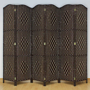 Dark Brown 6 Panel Solid Weave Wicker Room Divider Hand Made Privacy