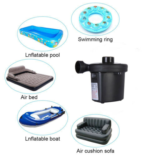 2 in 1 Electric Air Pump Inflator 12V Car /& 240V For Pools Boats raft Airbeds UK