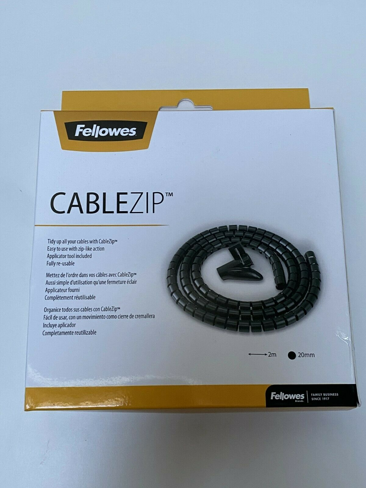 Fellows Black Cablezip Cable Tidy- 2M X 20MM