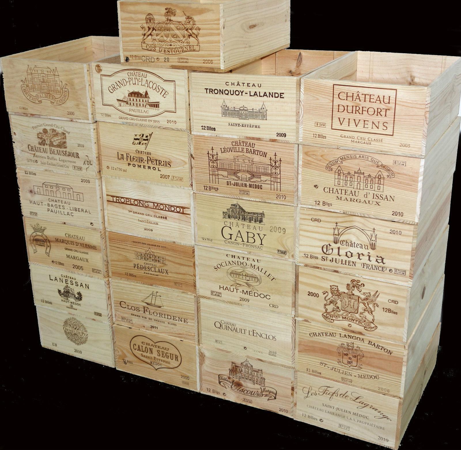4 X GENUINE 12 BOTTLE LARGE WOODEN WINE CRATE   BOX   PLANTER   HAMPER STORAGE-