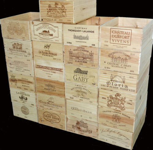 4 X GENUINE 12 BOTTLE FRENCH WOODEN WINE CRATE TOY STORAGE DISPLAY BOXES..