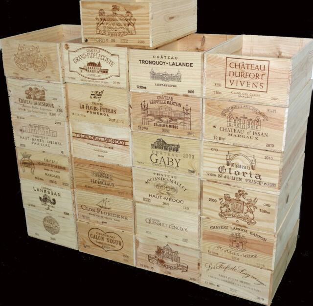 4 X GENUINE 12 BOTTLE LARGE WOODEN WINE CRATE / BOX / PLANTER / HAMPER STORAGE^^