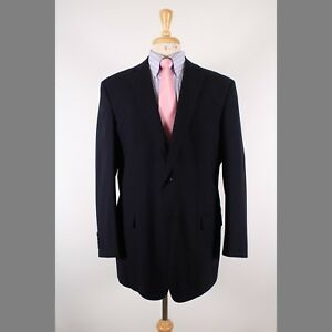 Brooks Brothers 46L Navy Solid Wool Two Button Mens Sport Coat Blazer Jacket