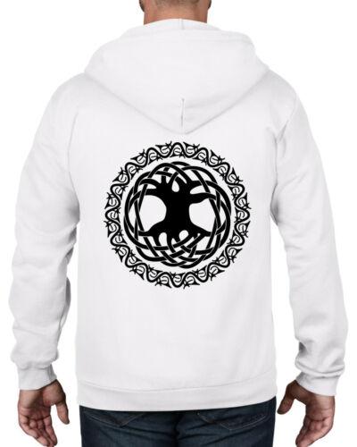 Pagan Druid Wicca Kabbalah T-Shirt CELTIC TREE OF LIFE FULL ZIP HOODIE