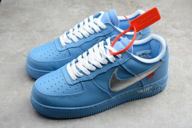 Nike CI1173 400 Air Force 1 Low Off White Shoes University BlueMetallic Silver White