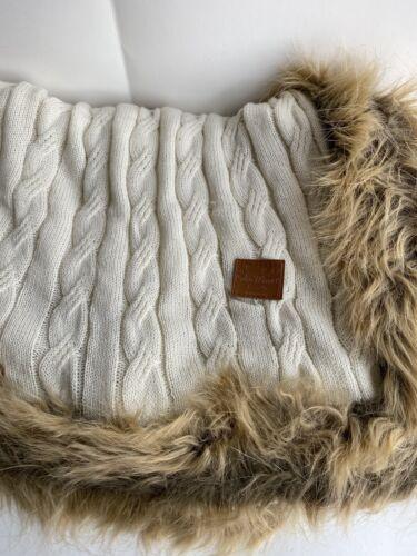 Charles Gallen Irish Linen Throw Blanket 50x60 Celtic Weavers Fur Cable Knit