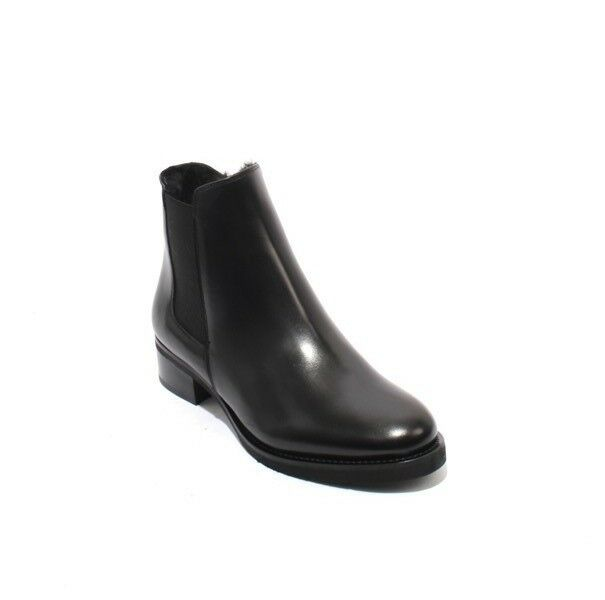 Luca Grossi 540a Black Leather   Shearling Elastic Zip Ankle Boots 36.5   US 6.5