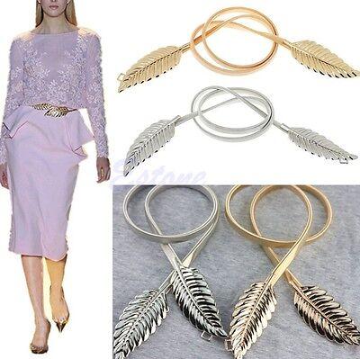 Fashion Women Metal Leaves Elastic Stretch Waist Belt Strap Cummerbund Waistband