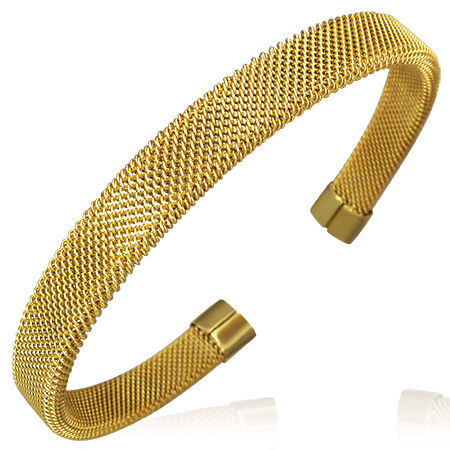 Stainless Steel Yellow Gold-Tone Mesh Womens Open End Cuff Bangle Bracelet