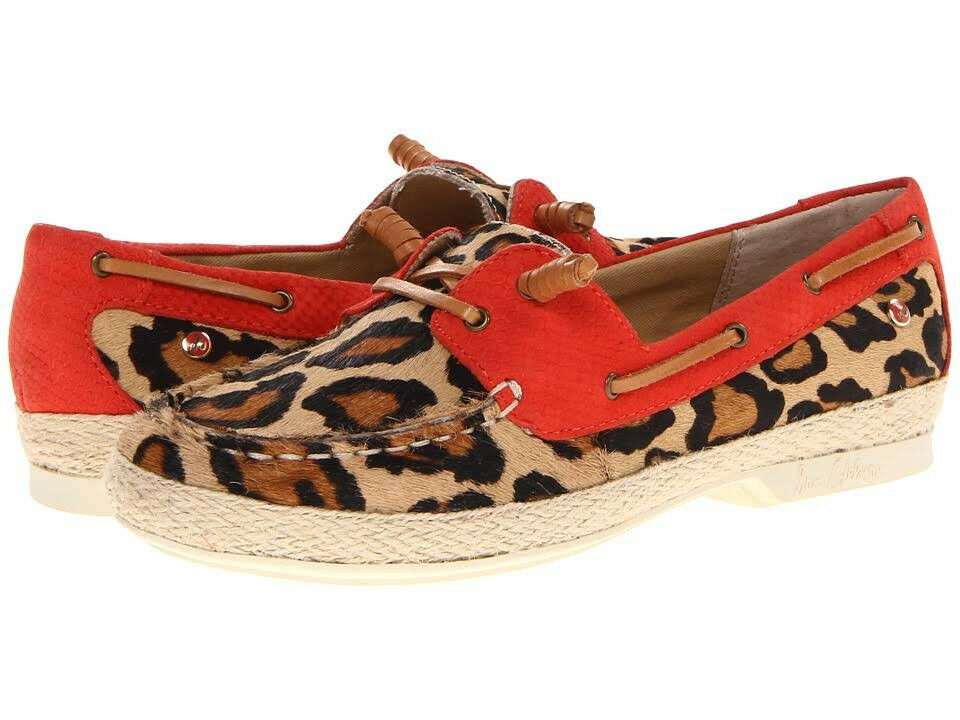 NIB Sam Edelman Sebastian Leopard orange Leather Dec Slip On Flat Womens Sz 6