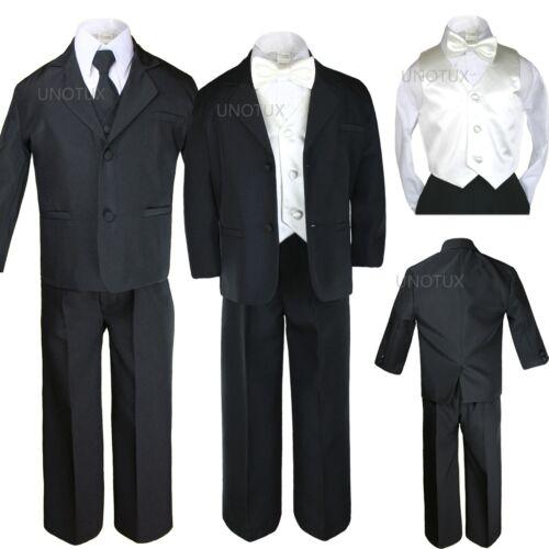 Boy Baby Toddler Kid Black Formal Suit Tuxedo S-20 New 7pc Satin Vest Bow Tie