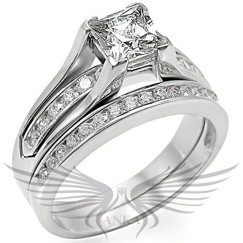 Brilliant Princess Cut Cubic Zircon CZ AAA Rhodium Pl Wedding Set Size 8 0W383