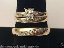 10k Yellow Gold His Her Mens Woman Diamonds Wedding Ring Bands Trio Bridal Set