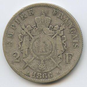 Napoleon III (1852-1870) 2 Francs Head Laurée 1866 BB Strasbourg