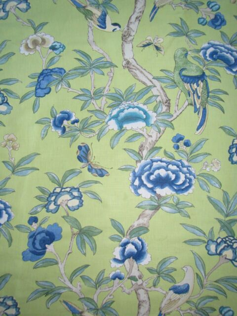 """THIBAUT CURTAIN FABRIC  """"Giselle"""" 3.3 METRES GREEN IMPERIAL GARDEN LINEN MIX"""