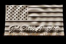 3d Model Stl For Cnc Router Artcam Aspire Usa Flag America God Bless D241