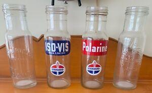 Standard-Oil-Co-Indiana-Vintage-Original-Oil-Bottles-1940-039-s-1950-039-s-Era-All-4