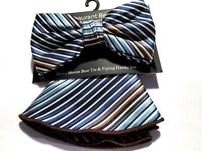 Mens Stripes Pre-tied Adjustable Bow Tie With Hanky