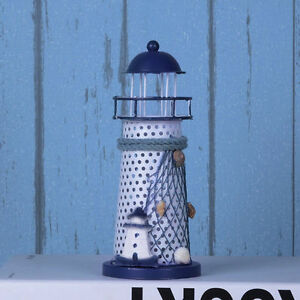 Beach Home Decor Desk Ornament Colorful Metal Lighthouse Nautical LED Light Lamp
