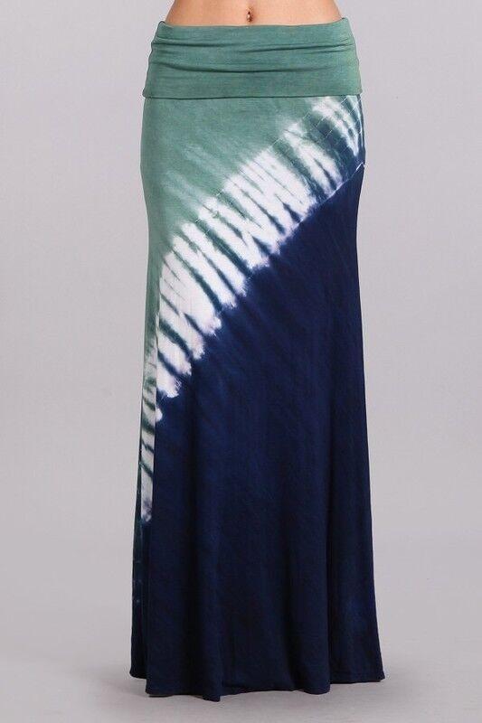BNWT CHATOYANT Women Size 8 Green bluee White Lounge Bohemian Tie Dye Maxi Skirt