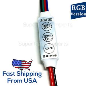 Controller for RGB LED light strips, 12V-24V, dimmer, effects, memory, bare wire