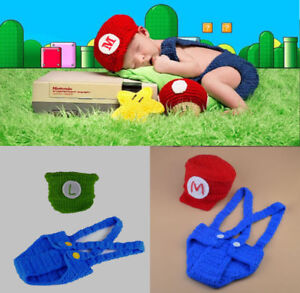 Image is loading Crochet-Knit-Super-Mario-amp-Luigi-Costume-Photography- 282499f35b3