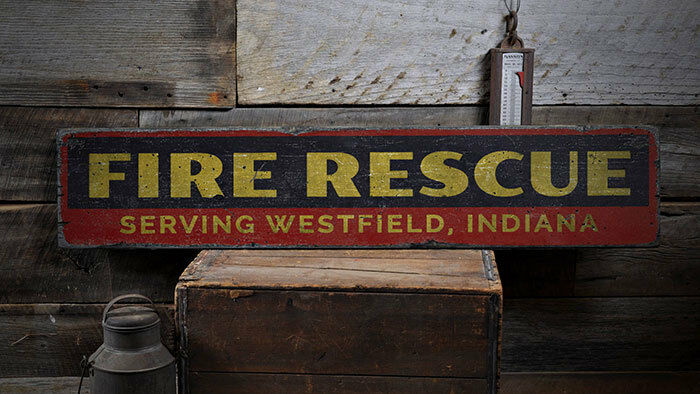 Fire Rescue Sign, Fire Rescue Decor -Distressed Wooden Sign ENS1001976